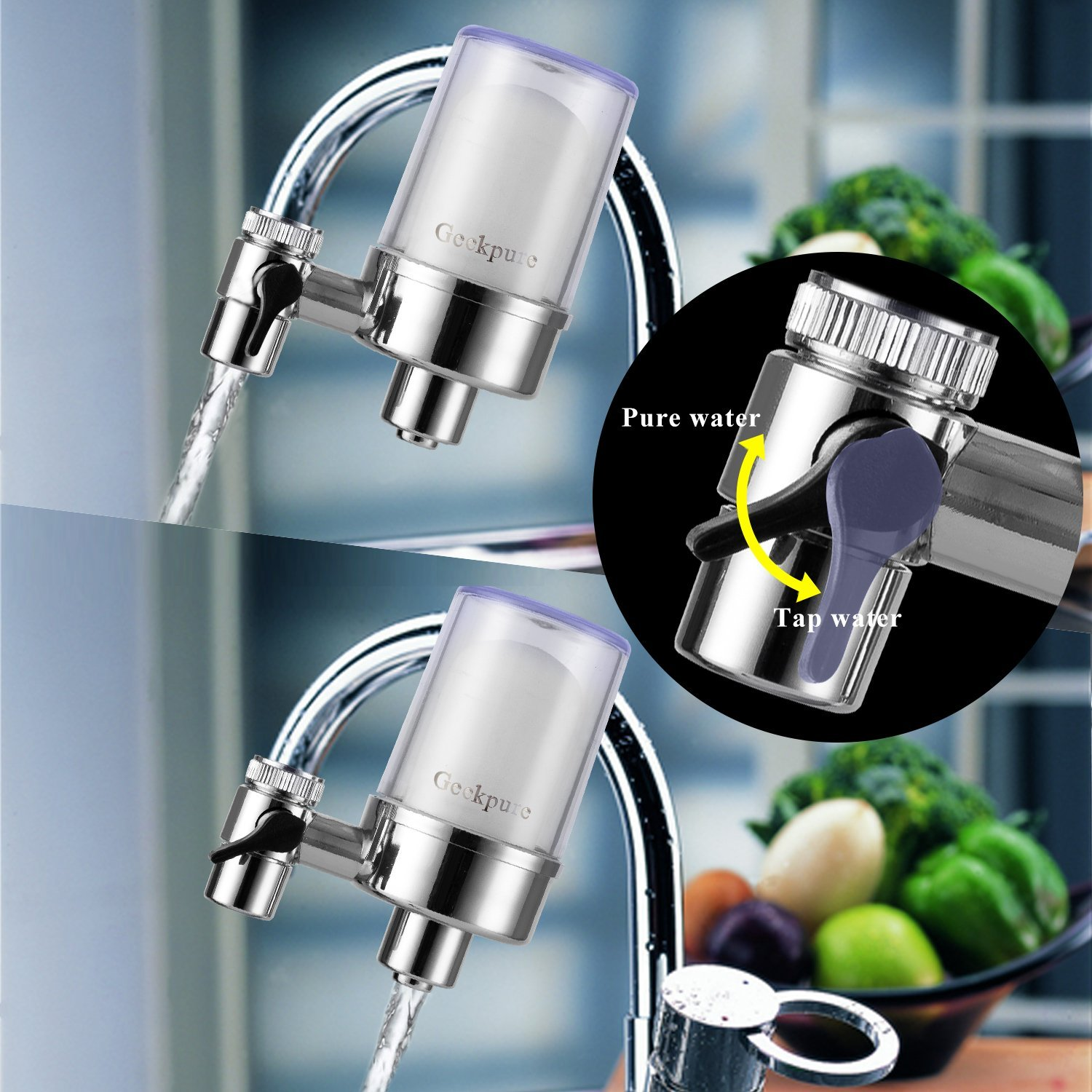 Amazon.com: Geekpure 3-Stage Faucet Water Filter for Kitchen and ...