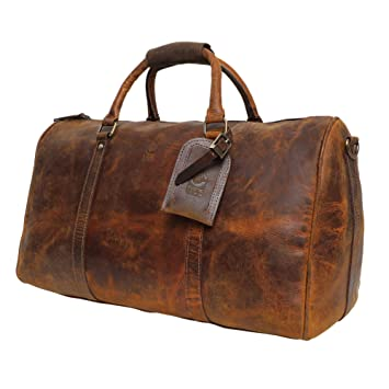 ba843924247 Amazon.com | Leather Duffel Bags For Men Women - Airplane Underseat Carry  On Luggage By Rustic Town | Carry-Ons