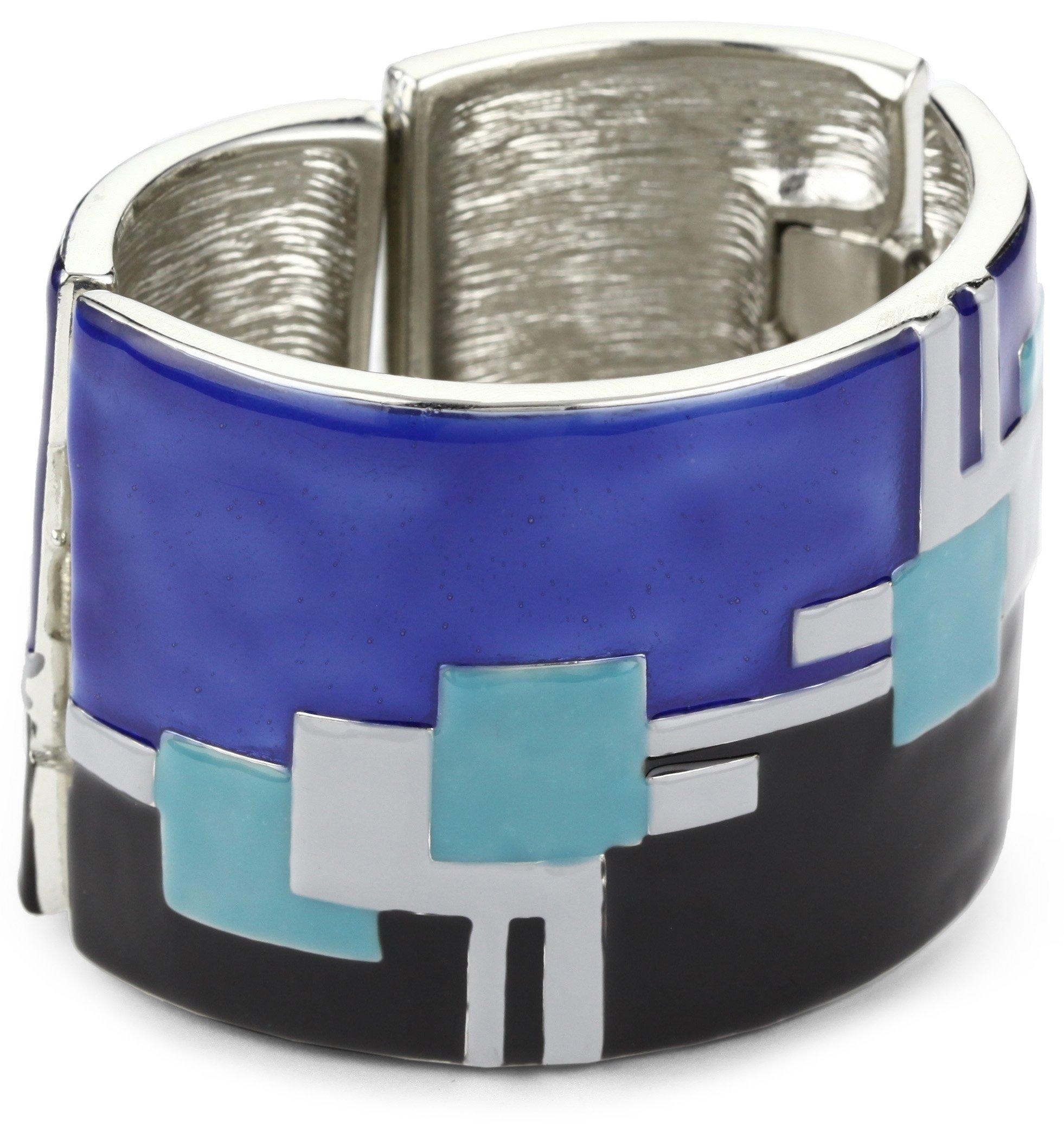 Kenneth Jay Lane ''Deco'' Rhodium, Cobalt and Turquoise-Color Enamel Cuff Bracelet