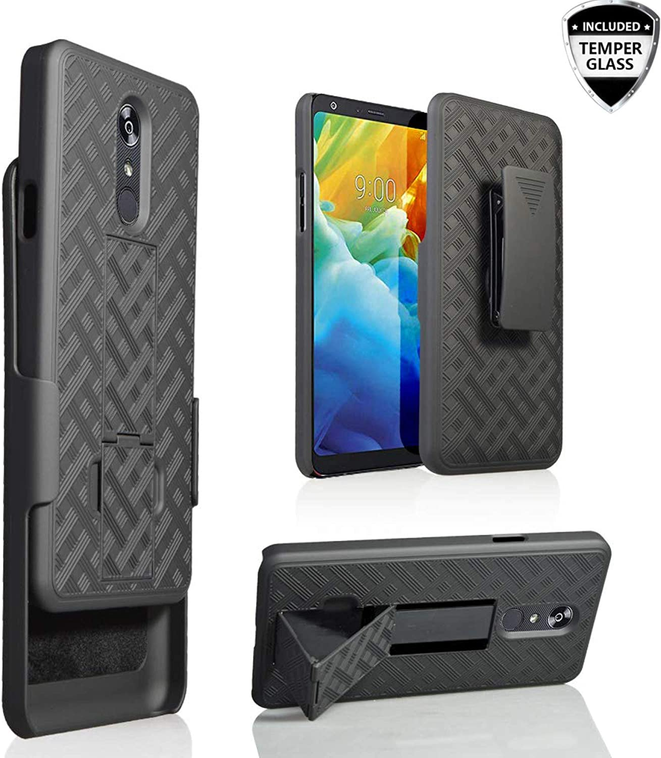 LG Stylo 5 Case, LG Stylo 5 Belt Clip Holster+Temper Glass Case Slim Fit Shell Combo Shell Holster Case Bulit-in Kickstand Protective Cover for LG Stylo 5 Phone 2019 Release, (Black)