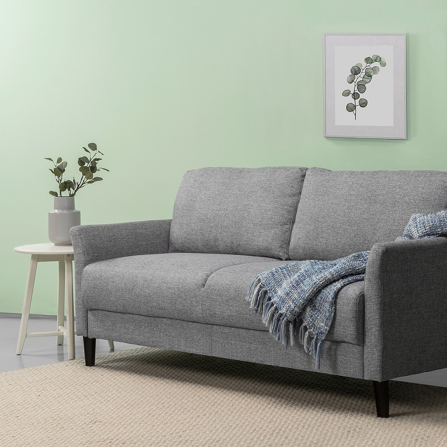 Zinus Classic Upholstered 71in Sofa / Living Room Couch, Soft Grey