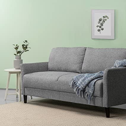 Attirant Zinus Classic Upholstered 71in Sofa/Living Room Couch, Soft Grey