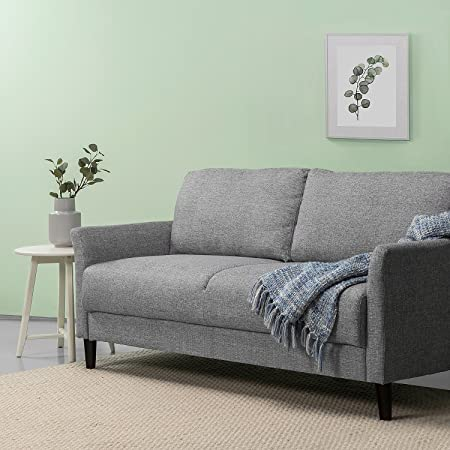 Zinus Jackie Classic Upholstered 71 Inch Sofa Living Room Couch, Soft Grey
