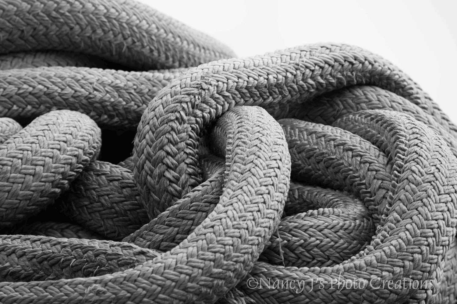 Grey coiled rope photographic print oversized nautical wall decor unframed black white photography rustic art boating gift for him 5x7 8x10 8x12 11x14