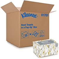 Kleenex Hand Towels with Premium Absorbency Pockets (01701), Hygienic Countertop Pop-Up Box, White, 120 Sheets / Carton…
