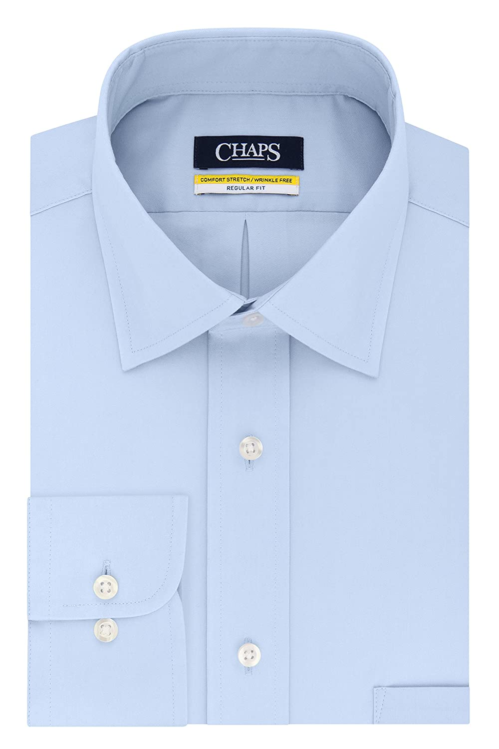 Chaps Mens Dress Shirt Regular Fit Stretch Collar Solid, Light ...