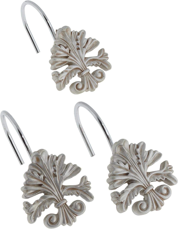 Carnation Home Fashions Fleur dis Lis Ceramic Resin Shower Curtain Hook, Silver