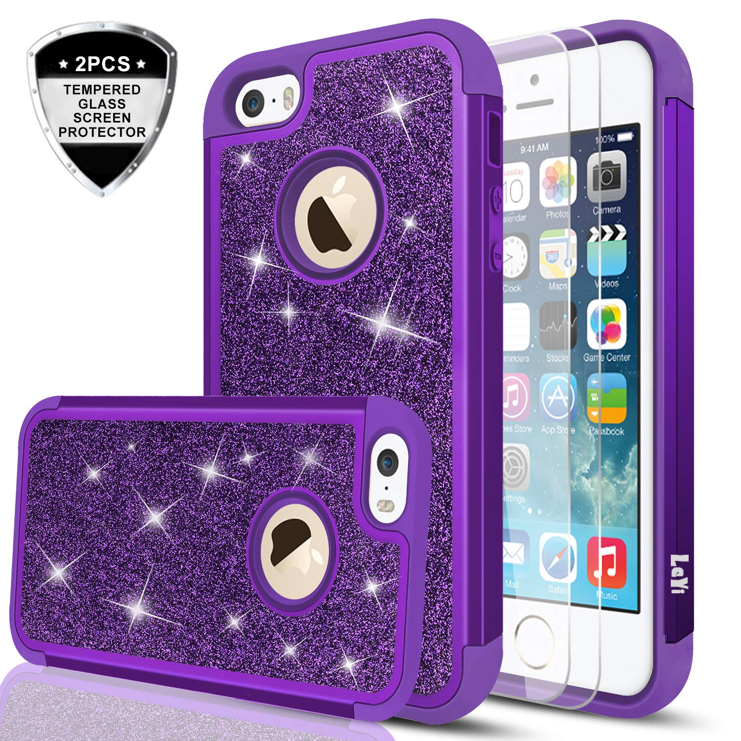 iPhone 5S Case, iPhone 5 /iPhone SE/iPhone SE 2 Case with Tempered Glass Screen Protector [2 Pack], LeYi Glitter Bling Girls Women Heavy Duty Protective Case for iPhone 5S/5/SE/SE 2 TP Rose Gold 4334971251