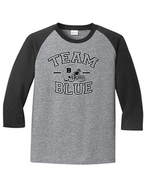 Team Blue Football Gender Reveal 5700 Raglan T Shirt Slogan Humorous