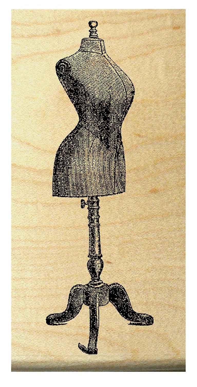 P27 Dress form mannequin rubber stamp