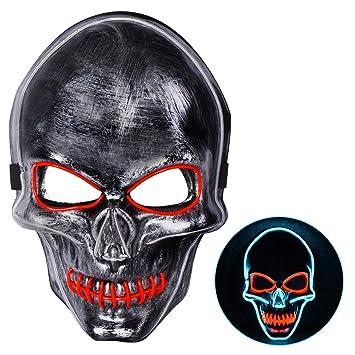 Joyjoz Halloween Mascara LED Mask para Adultos y niños, Mascaras de la Purga para Disfraces de Halloween Cosplay Carnaval Fiestas (Tres Modos de luz)