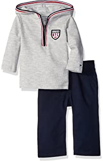 Tommy Hilfiger Baby Boys Hooded Half Zip Top with Pants Set