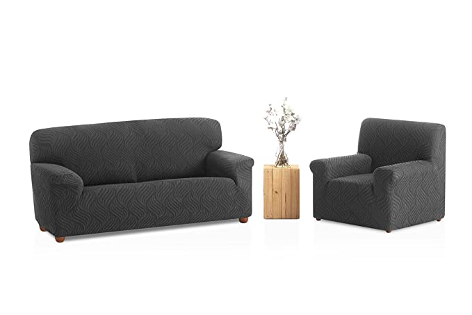 Bartali Funda de sofá elástica Aitana - Color marfil -Tamaño 3 plazas (de 160 a 210 cm).