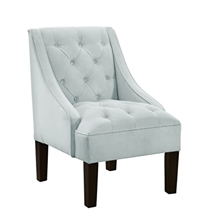 Superbe Skyline Furniture Tufted Swoop Arm Chair In Velvet Pool