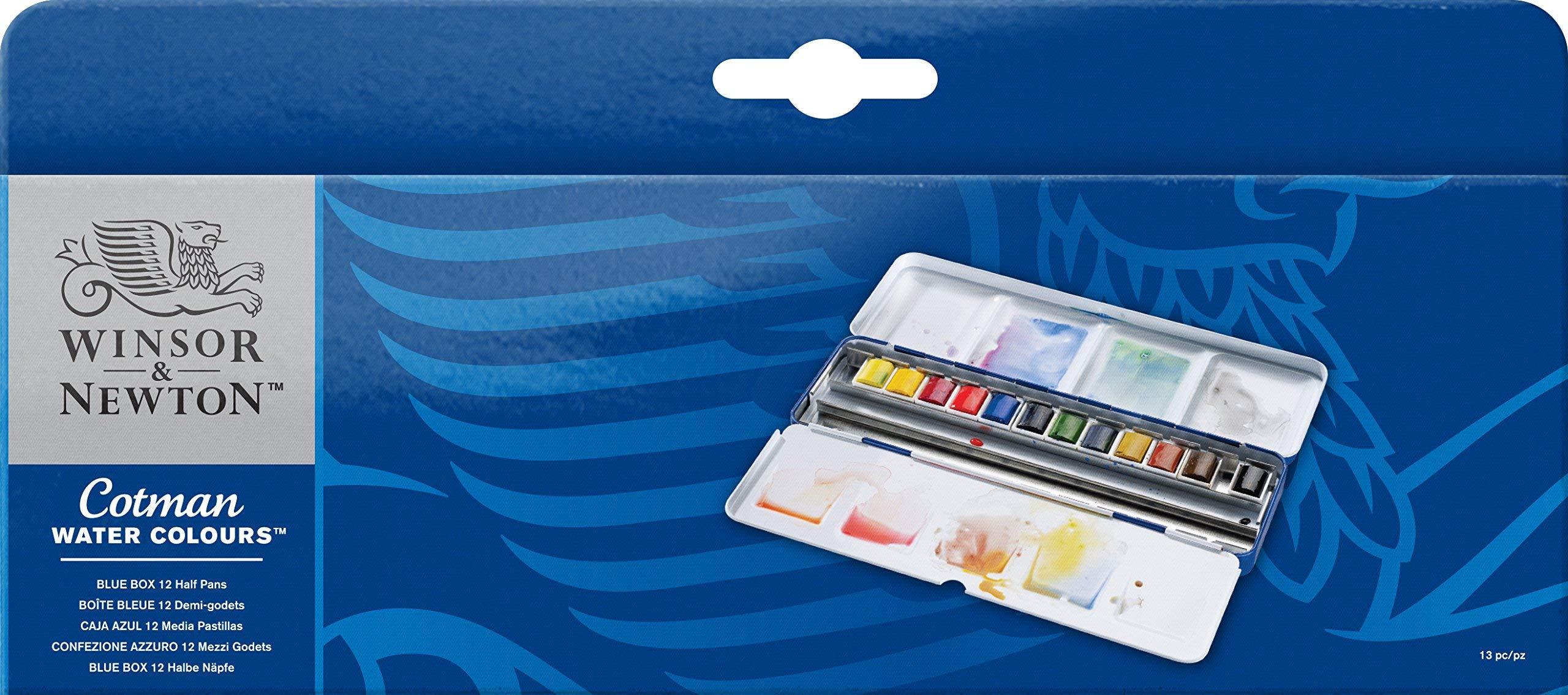 Winsor & Newton Cotman Watercolor Blue Box Set, 12 Half Pans
