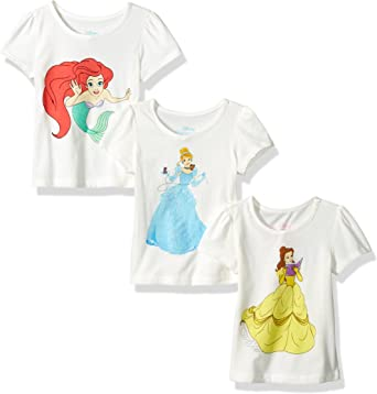 Disney Princess Cinderella Belle Toddler Girls 4 Pack Short Sleeve T-Shirts 3T