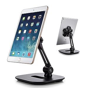 AboveTEK Sleek Magnetic Tablet Stand, Aluminum iPad Cell Phone Stand w/Extra Bonus Metal Disks, 360° Swivel iPhone/iPad Magnet Mount for Kitchen Tabletop Bedside Office Desk Kiosk Reception Display