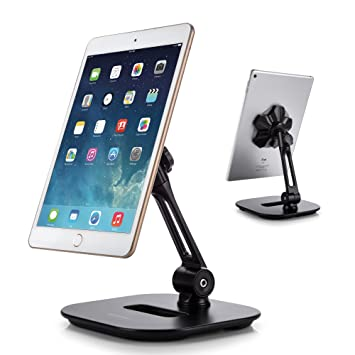 AboveTEK Sleek Magnetic Tablet Stand, Aluminum iPad Cell Phone Stand  w/Extra Bonus Metal Disks, 360° Swivel iPhone/iPad Magnet Mount for Kitchen  ...