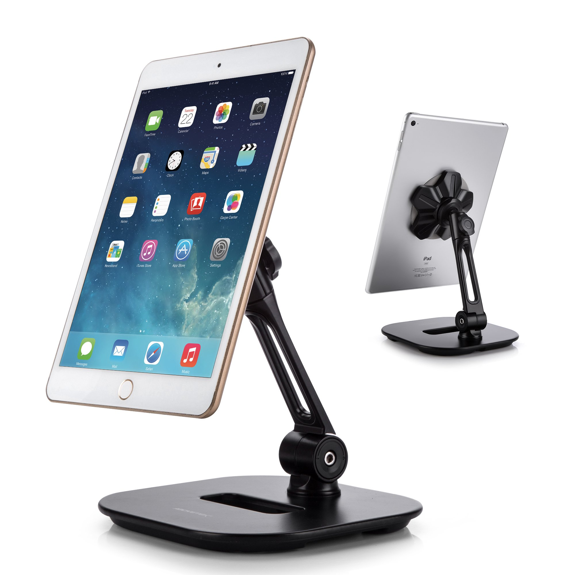 AboveTEK Sleek Magnetic Tablet Stand, Aluminum iPad Cell Phone Stand w/Extra Bonus Metal Disks, 360° Swivel iPhone/iPad Magnet Mount for Kitchen Tabletop Bedside Office Desk Kiosk Reception Display