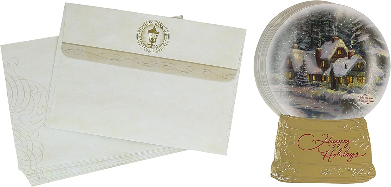 Hallmark Christmas Boxed Cards Thomas Kinkade Snowglobe Happy Holidays