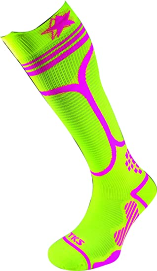 TKS Compresion CALCETIN Largo IBERO 02 Amarillo Fluor/Rosa, para Running, Triatlon, Ciclismo, Senderismo, Crossfit, TRX