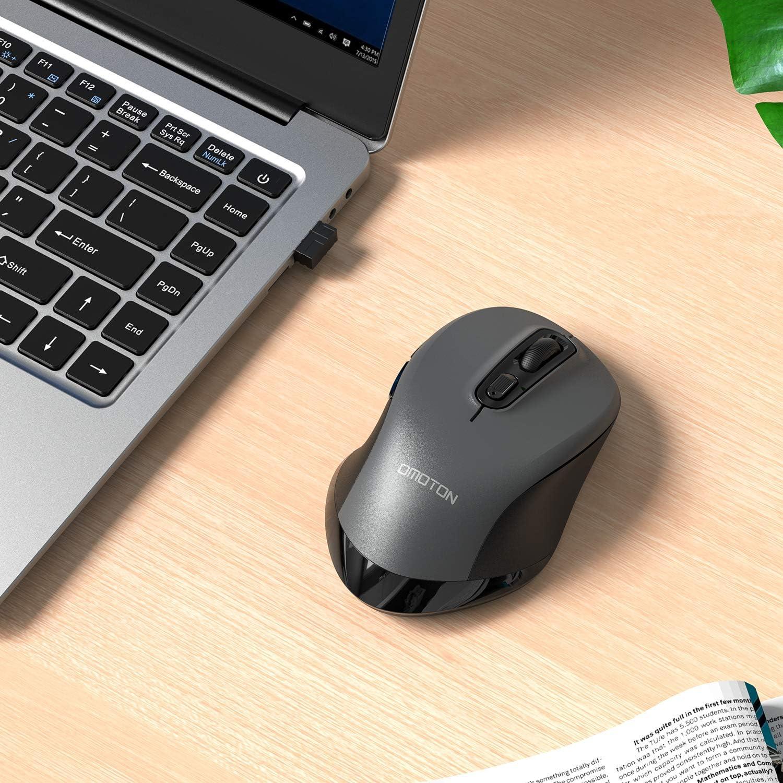 6 Pulsanti MacBook e Altri dispositivi 800//1200//1600//2400 DPI per Desktop Laptop Grigio PC OMOTON Mouse Wireless Mouse Senza Fili 2.4G con Ricevitore USB