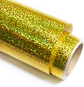 Holographic Sparkle Gold Vinyl Glitter Adhesive Craft Vinyl 12 Inch X 6 Feet for Crafts, DIE-Cutter,Decal, Signs, Stickers,Glitter Gold