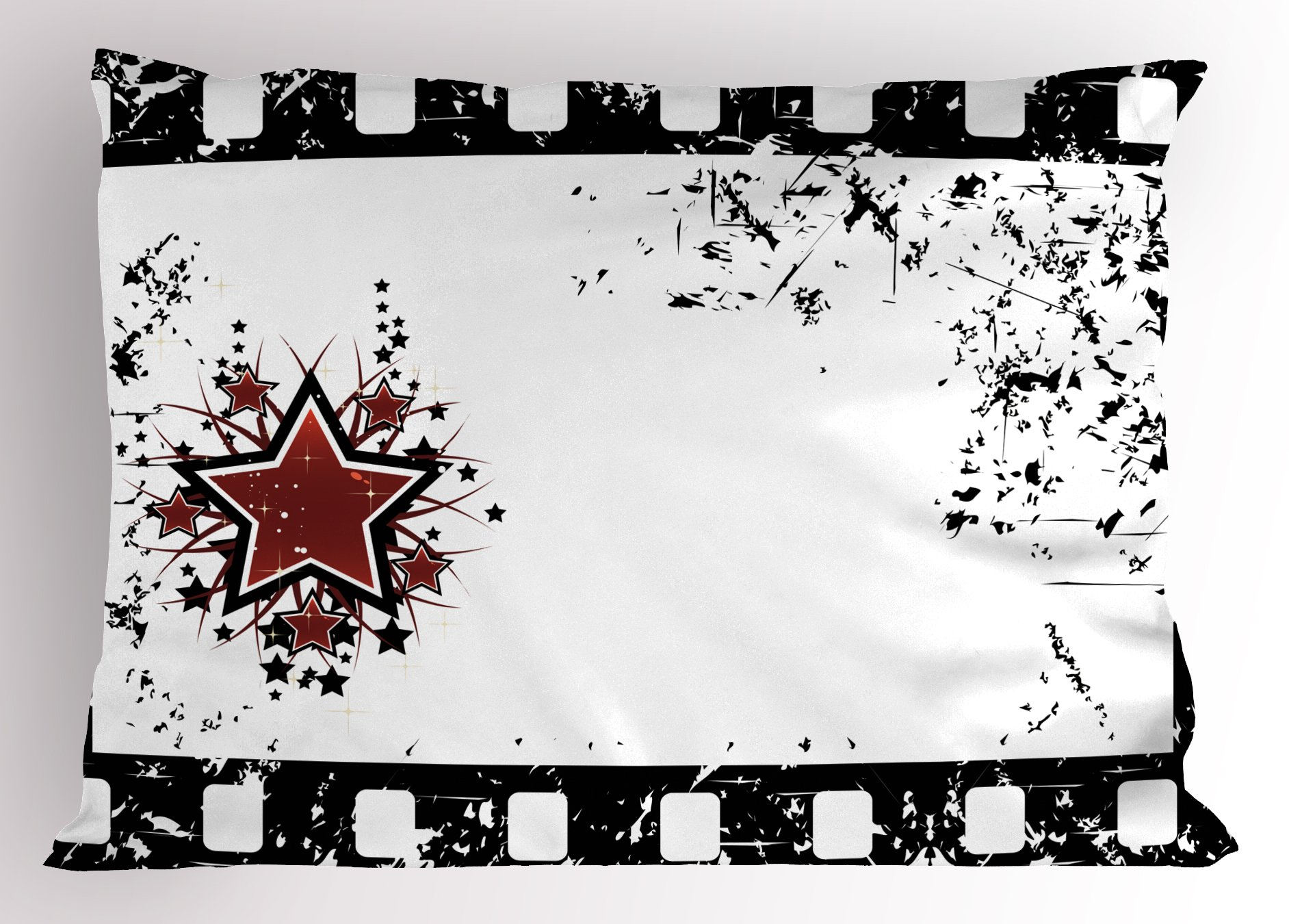 Ambesonne Movie Theater Pillow Sham, Grungy Illustration of Film Strip with Ornamental Stars Cinematography, Decorative Standard King Size Printed Pillowcase, 36 X 20 Inches, Black White Ruby