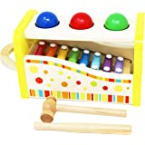Wooden Hammer and Ball Toy and Xylophone Set - Hammer and Pegs Toys and Xylophone Toy for Baby - Wooden Musical Toys for Kids