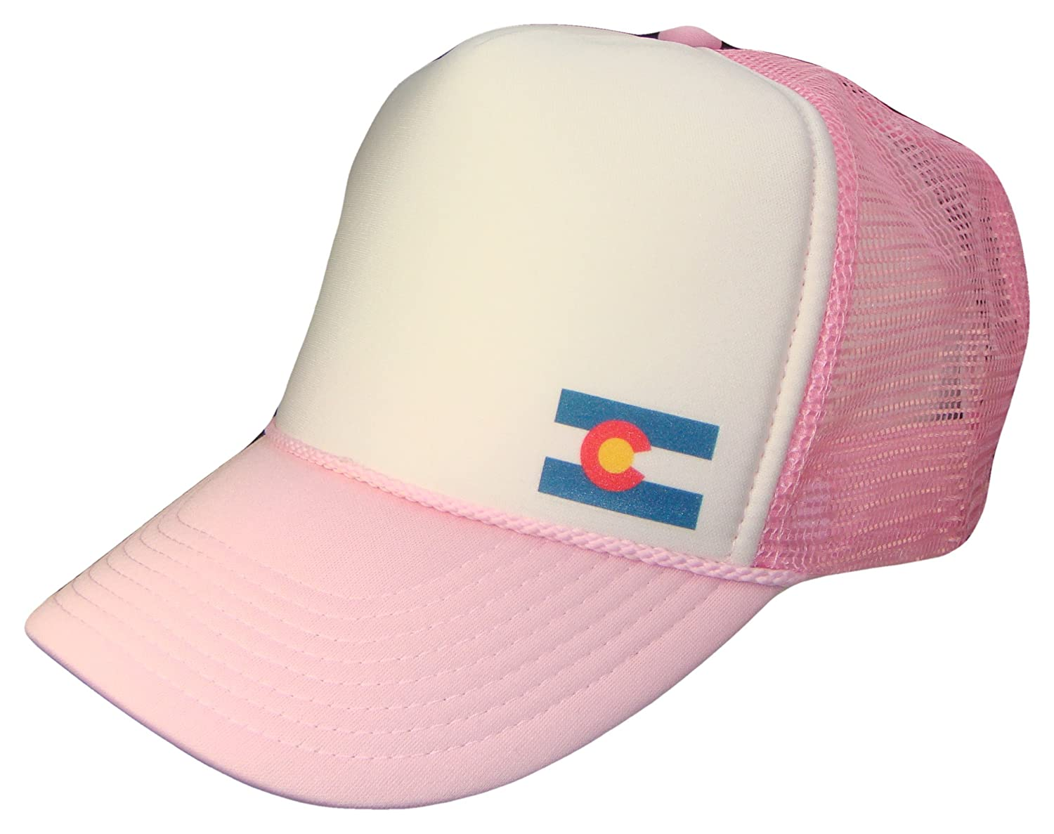 Colorado State Flag Mesh Trucker Cap (One Size, Pink/White)
