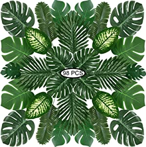 Recosis 98 Pieces 8 Kinds Tropical Party Decorations Jungle Monstera Leaves Safari Leaves, Artificial Palm Leaves with Faux Stem for Hawaiian Luau Party Jungle Beach Table Leave