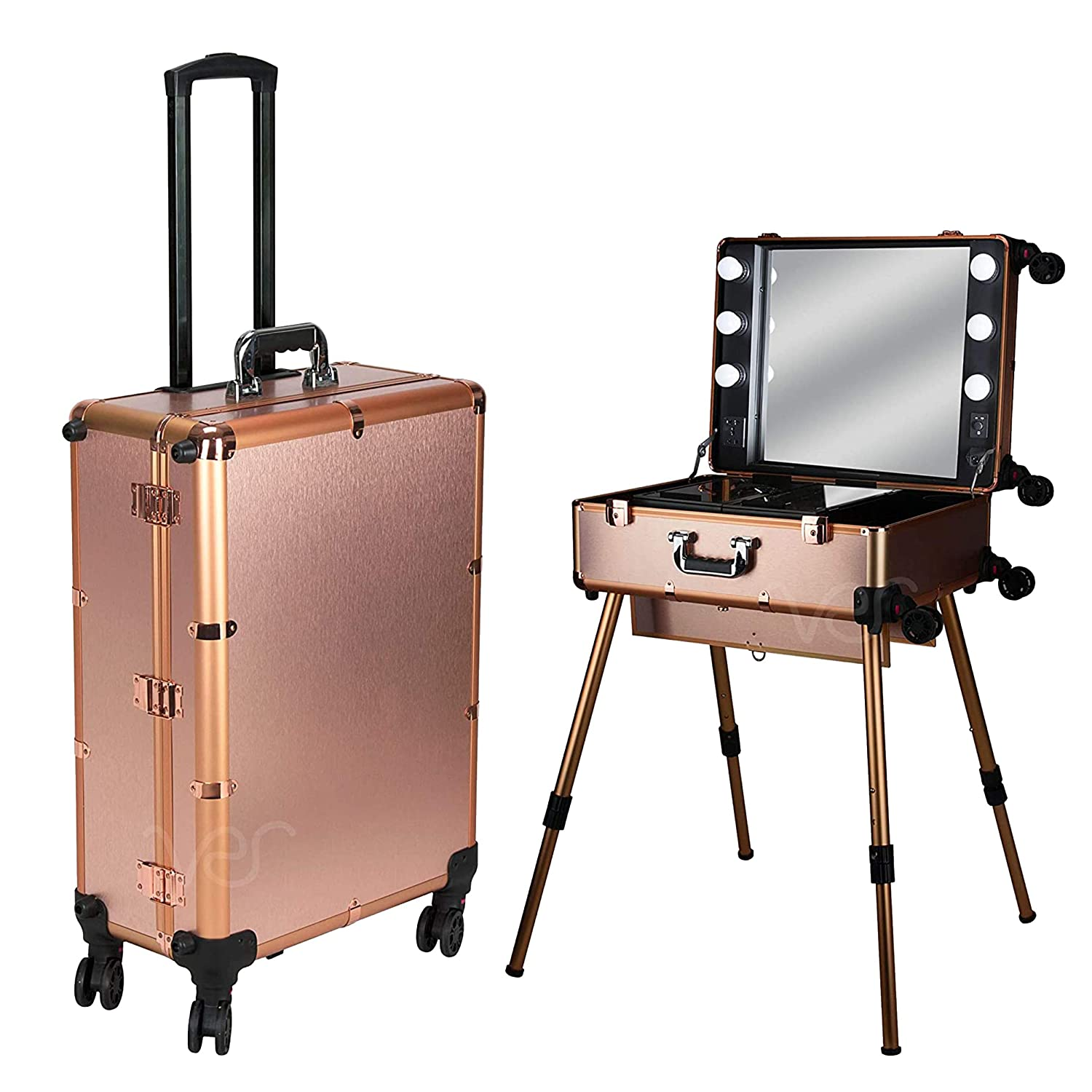 Ver Beauty Professional Rolling Hair Stylist Makeup Studio & Makeup Artist Travel Case with 6 LED Lights, Rose Gold