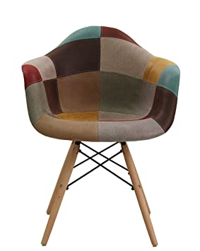 Thomas Wood Patchwork Armchair - Mid-century Faux Leather Upholstered Chair  For Cafe Dining Kitchen a9aa3fa37d163
