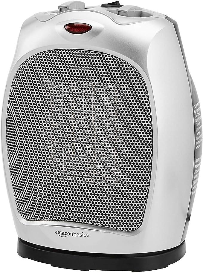AmazonBasics 1500W Oscillating Ceramic Heater with Adjustable Thermostat
