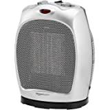Amazon Basics 1500W Oscillating Ceramic Heater with Adjustable Thermostat, Silver