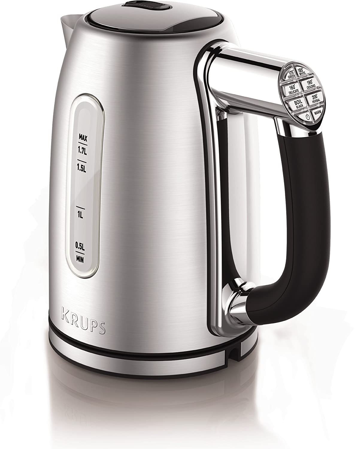 KRUPS 8010000092 BW710D51 Adjustable Temperature Kettle with Stainless Steel Housing, 1.7-Liter Silver
