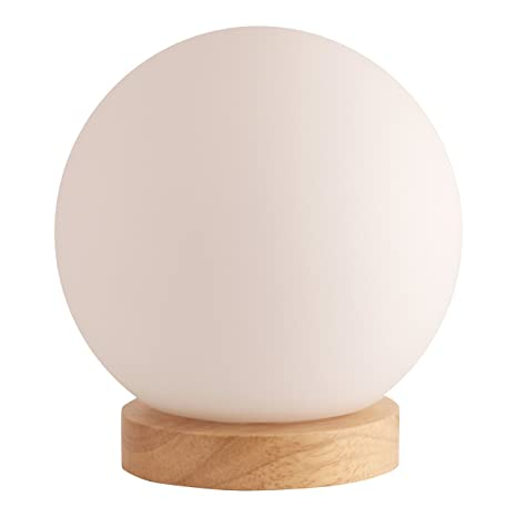 Light Accents Iris Table Lamp Natural Wooden Base With Round Glass