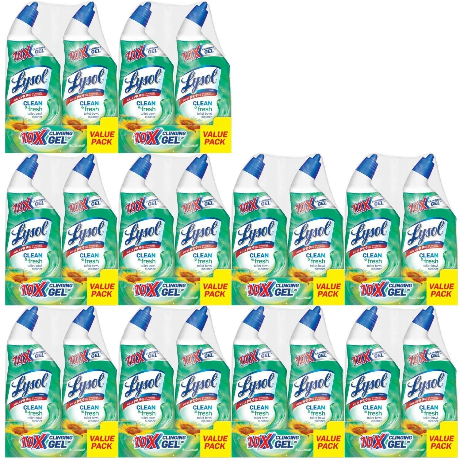 Lysol Power & Fresh Cling Toilet Bowl Cleaner Value Pack, Country Scent, 480 Ounce, Count of 20