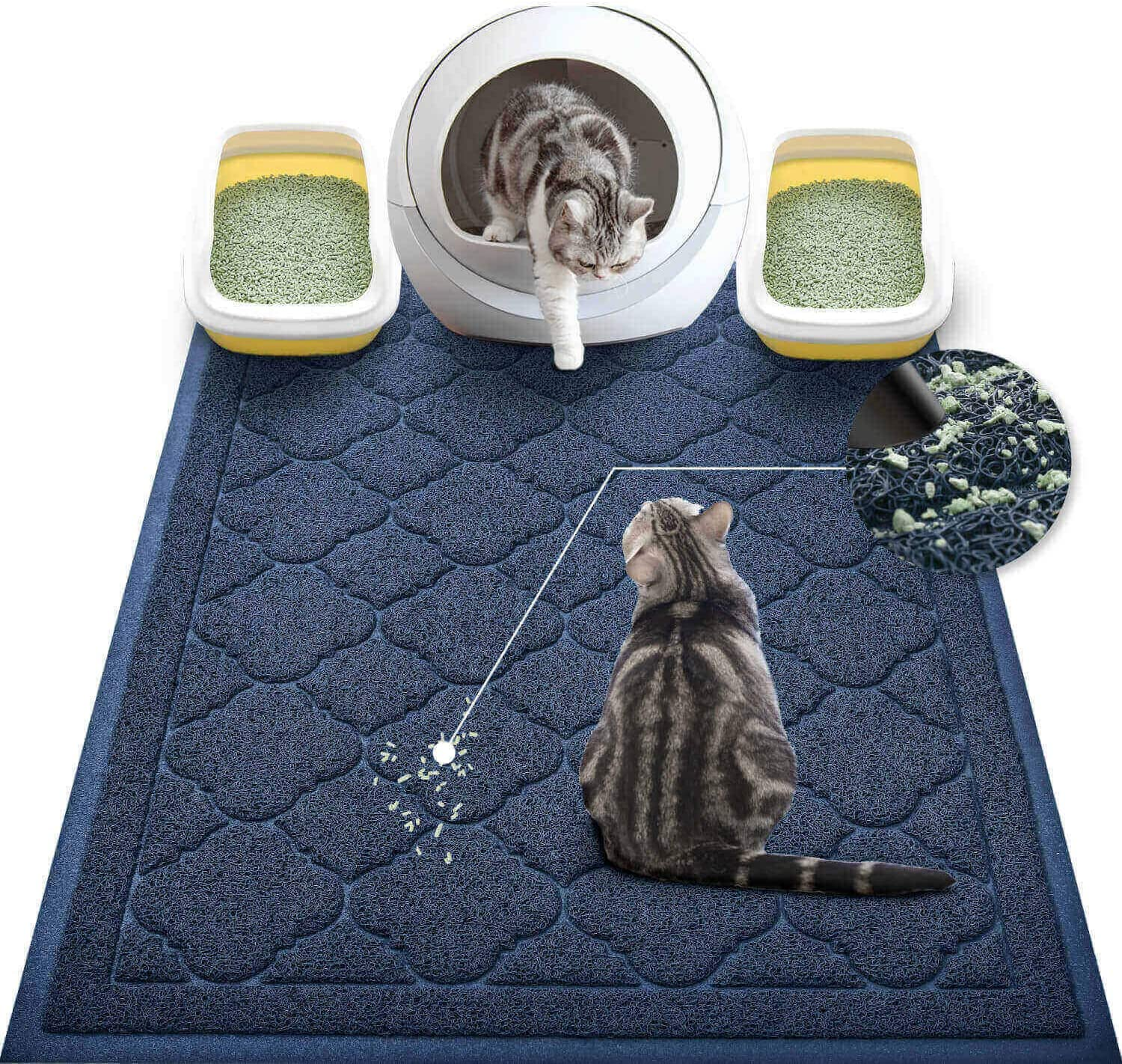 WePet Cat Litter Mat Jumbo, Kitty Litter Trapping Mess Mat, XXLarge Size, 47 x 36 Inch, Premium Durable Soft PVC Rug, No Phthalate, Urine Waterproof, Washable, Scatter Control, Litter Box Pad