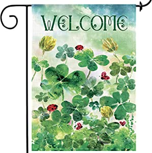 Welcome Clover Garden Decorative St.Patrick's Day Garden Flag Burlap Outside Banner Outdoor House Seasonal Decorative Sign 12 x 18 Double Sided