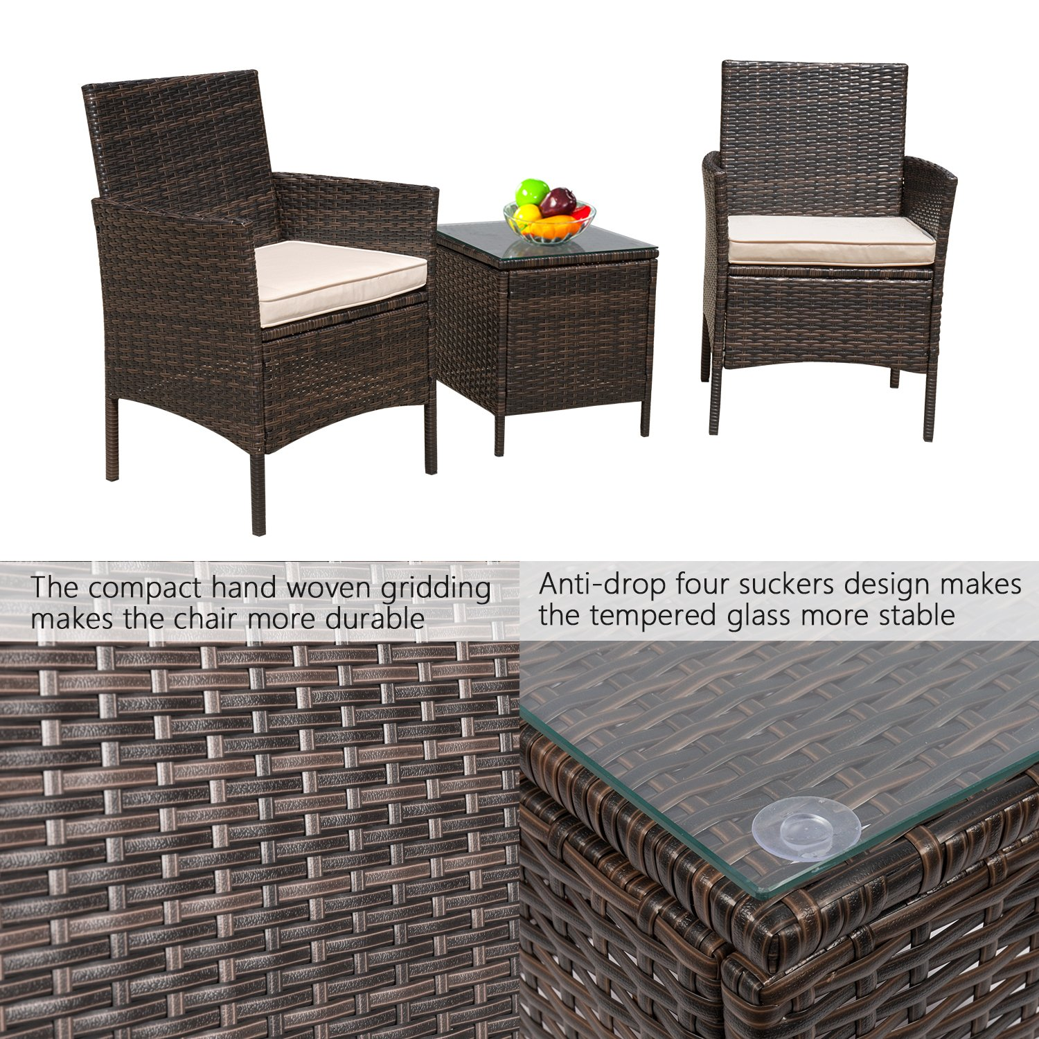 Flamaker 3 Pieces Patio Furniture Set Modern Outdoor Furniture Sets Clearance Cushioned PE Wicker Bistro Set Rattan Chair Conversation Sets with Coffee Table (Brown Wicker) by Flamaker (Image #4)