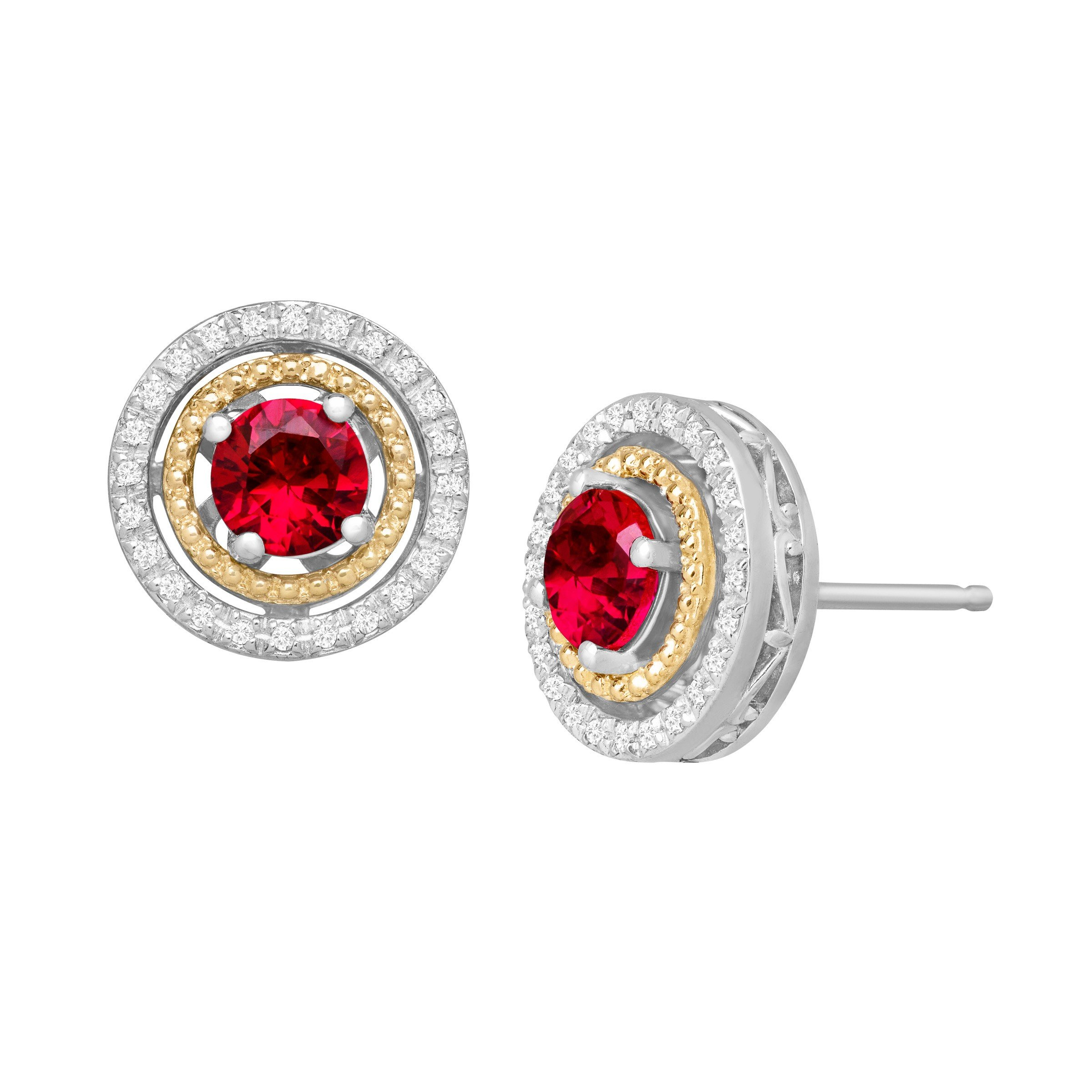 1 1/3 ct Created Ruby & 1/8 ct Diamond Stud Earrings in Sterling Silver and 14K Gold by Finecraft (Image #1)