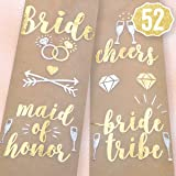 Bachelorette Party Flash Tattoos - Bride Tribe, Maid of Honor + 52 Styles (2 sheets) - Bridal Shower Favor and Decorations