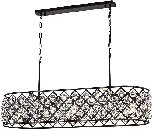 Edvivi Azha 5-Light Oil Rubbed Bronze Oval Kitchen Island Pendant Chandelier with Crystal Spheres ORB Glam Lighting