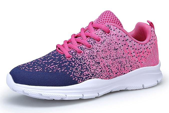 KOUDYEN Damen Laufschuhe Atmungsaktiv Turnschuhe Schnürer Sportschuhe Sneaker