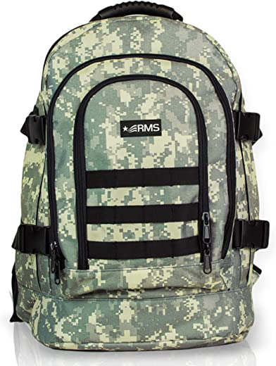 RMS Casual Backpack - Military Style Backpacks for Men, Women & Students - Expandable & Extra Large Capacity Daypacks for Travel, Hunting, Camping, Hiking, School or Everyday Use (Camo Pattern)