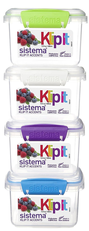 400 ml 3 Unidades Sistema KLIP IT Fiambrera con Forma de Botella