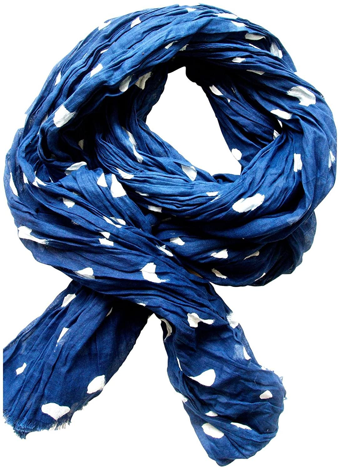 See Design Cotton Scarf, Smudge, Indigo