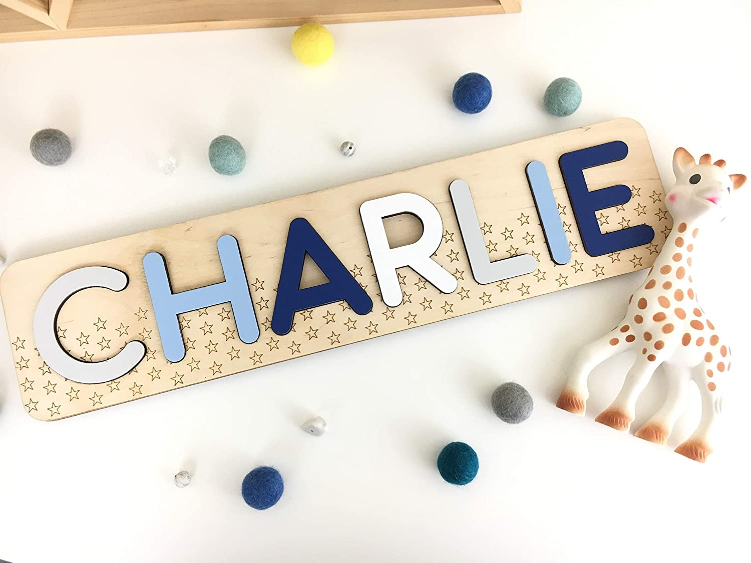 Wooden toddler puzzle with pattern Personalized baby name puzzle for boy girl Lines   Stars Handmade in California by WoodliyToys Dots Learning toys 1 year old