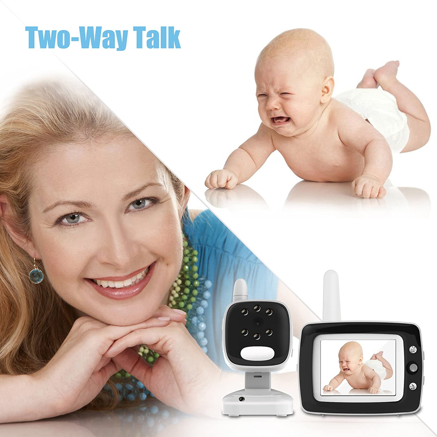 Smart LED Indicator Light HD Video Monitor Soothing Lullabies with 3.5 Inch Color Screen Two Way Audio and Temperature Display Night Vision
